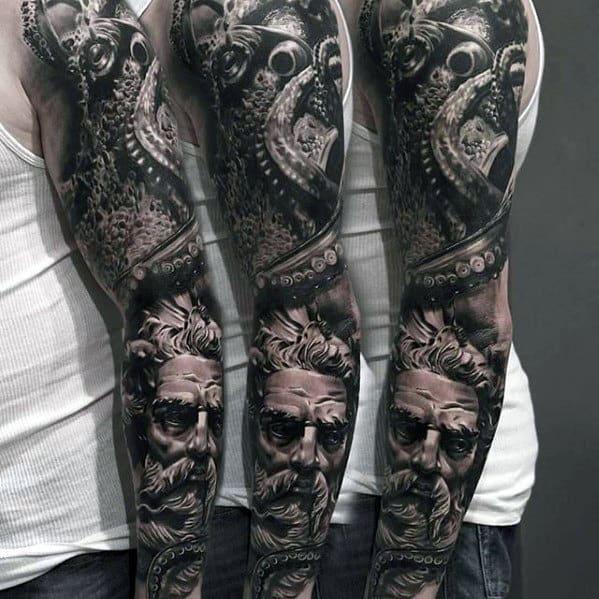 50 octopus sleeve tattoo designs for men manly ink ideas. Black Bedroom Furniture Sets. Home Design Ideas