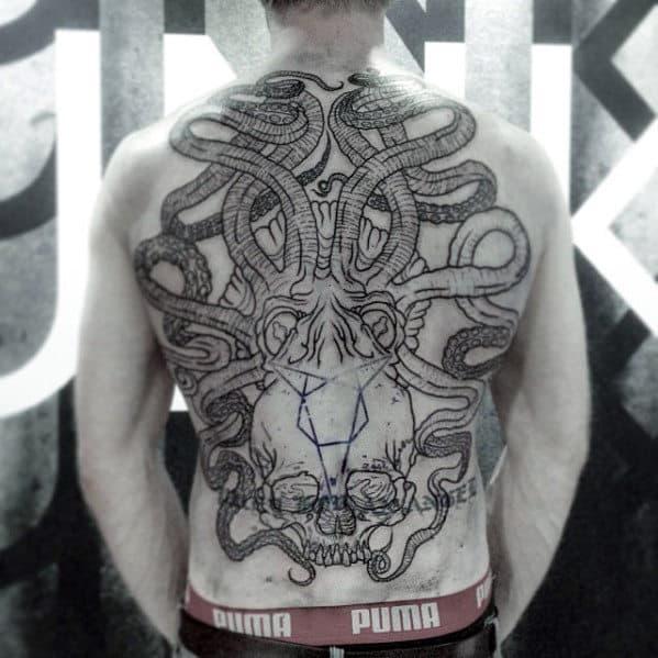 Masculine Octopus Skull Guys Back Tattoo Design Inspiration