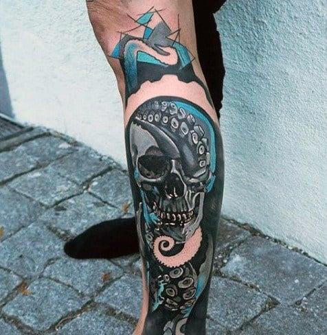 Masculine Octopus Skull Tattoos For Men On Leg