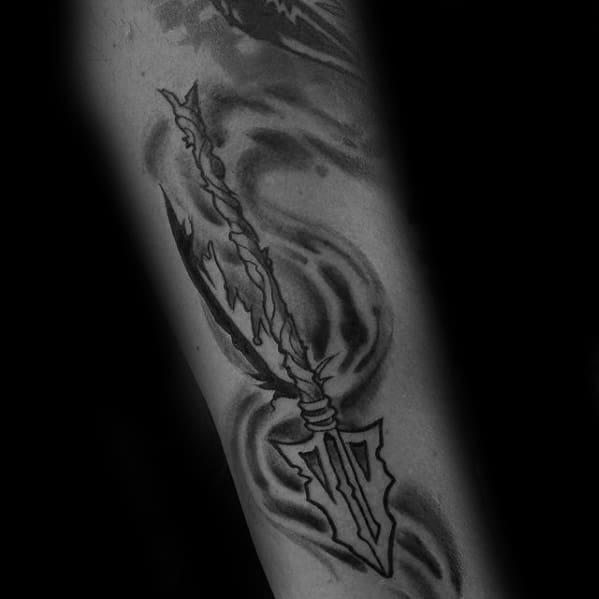 Masculine Old School Shaded Arrow Fsu Tattoos For Men On Forearm