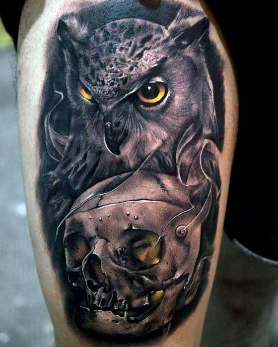 Masculine Owl Skull Tattoos For Men