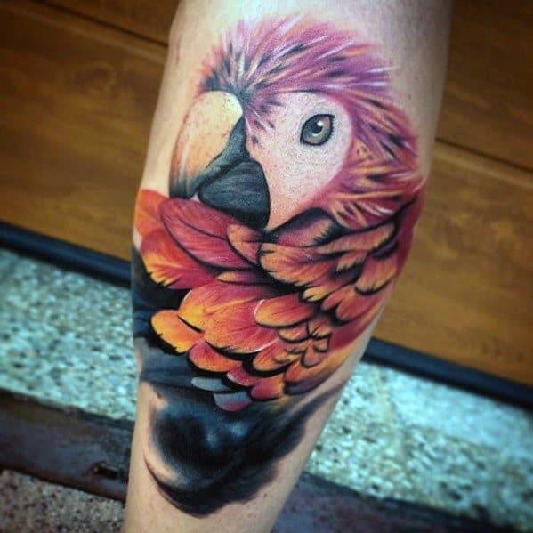 Masculine Parrot Tattoos For Men Leg Calf 3d Design