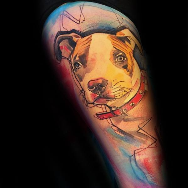Masculine Pitbull Tattoos For Men