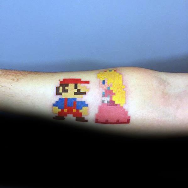 Masculine Pixel Super Mario With Princess Inner Forearm Tattoos For Men