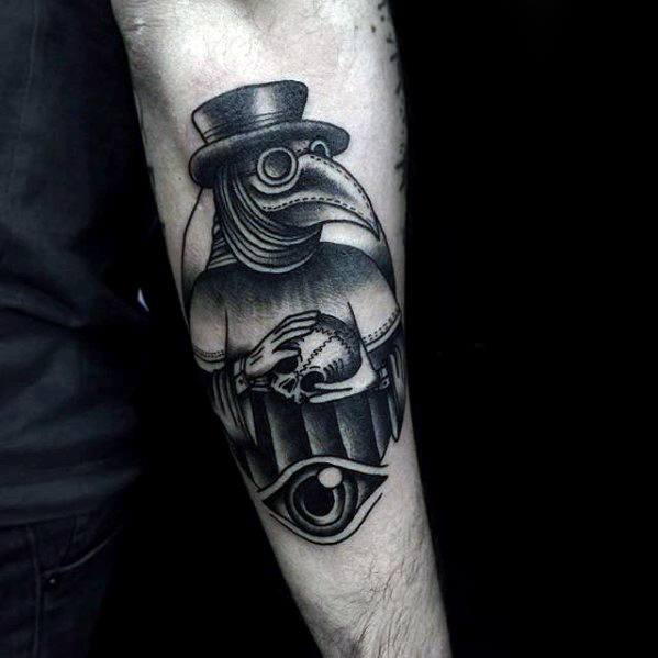 Masculine Plague Doctor Tattoos For Men Outer Forearm