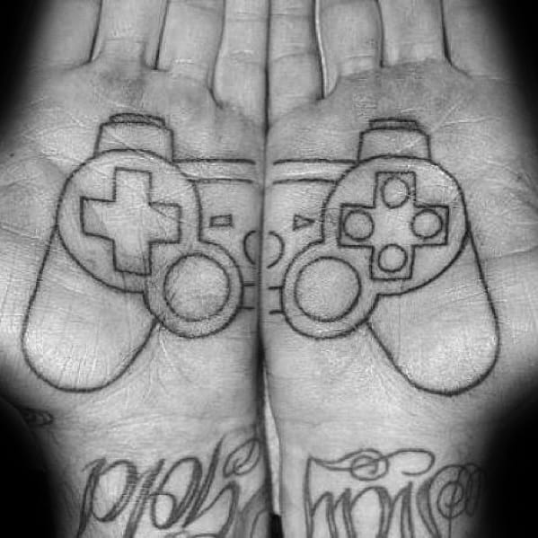 Masculine Playstation Tattoos For Men On Palm Of Hand