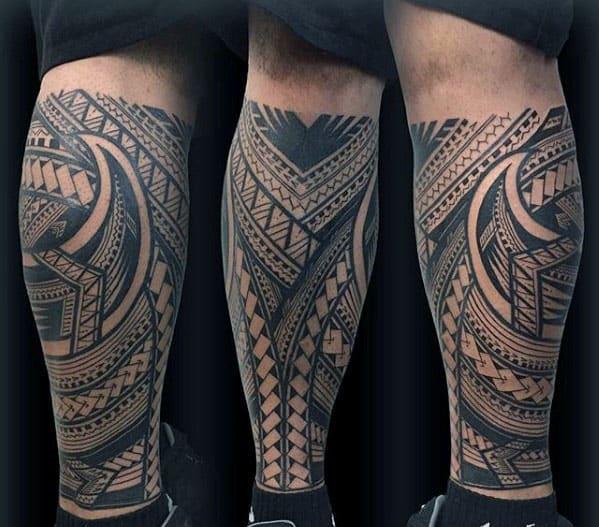 Masculine Polynesian Tribal Leg Sleeve Tattos For Men