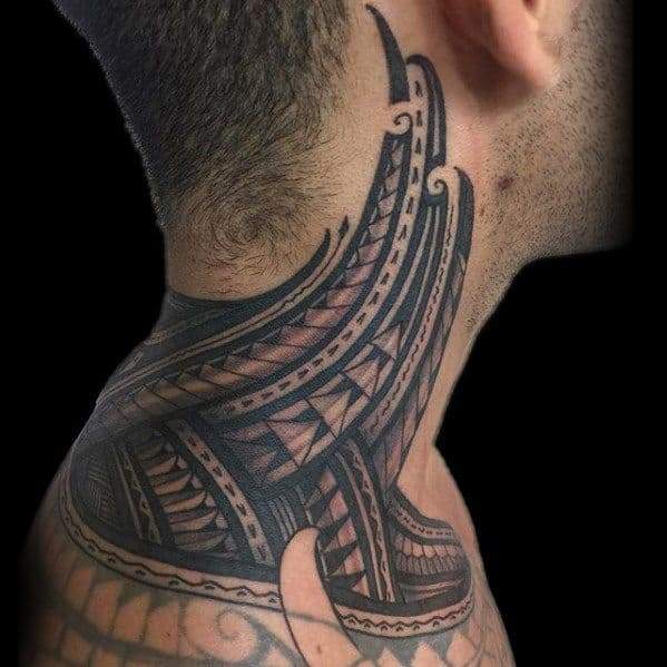 Masculine Polynesian Tribal Neck Tattoos For Men