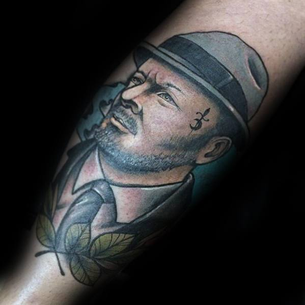 Masculine Portrait Tattoos For Men On Forearm