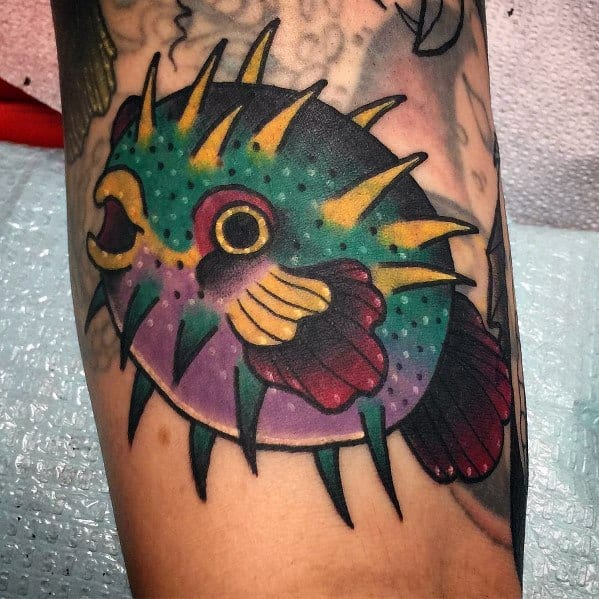 Masculine Puffer Fish Tattoos For Men
