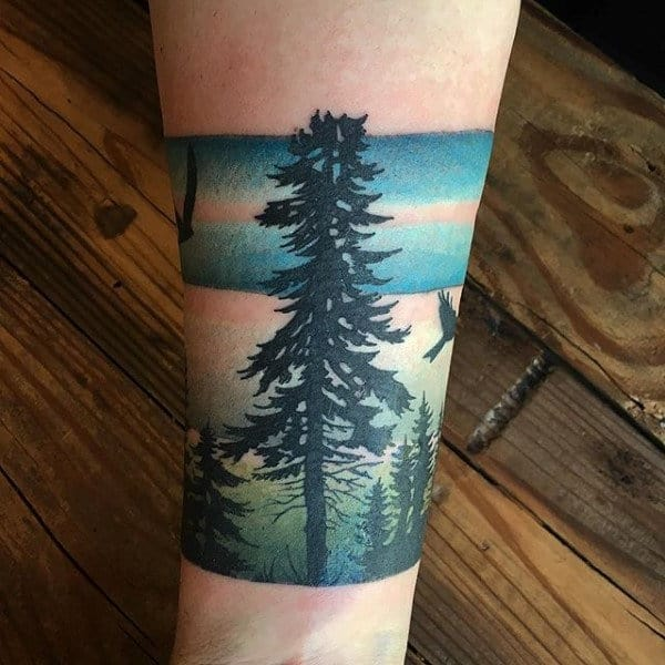 Masculine Quarter Tree Sleeve Tattoos For Males