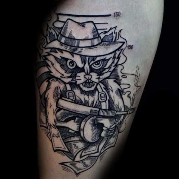 Masculine Raccoon Mobster Guys Arm Tattoo