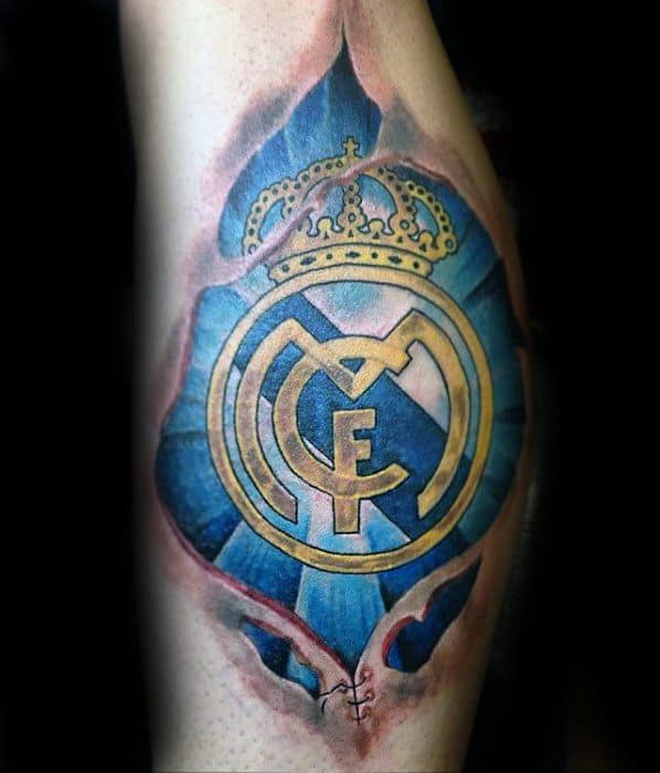 Masculine Real Madrid Tattoos For Men Ripped Skin Leg Calf