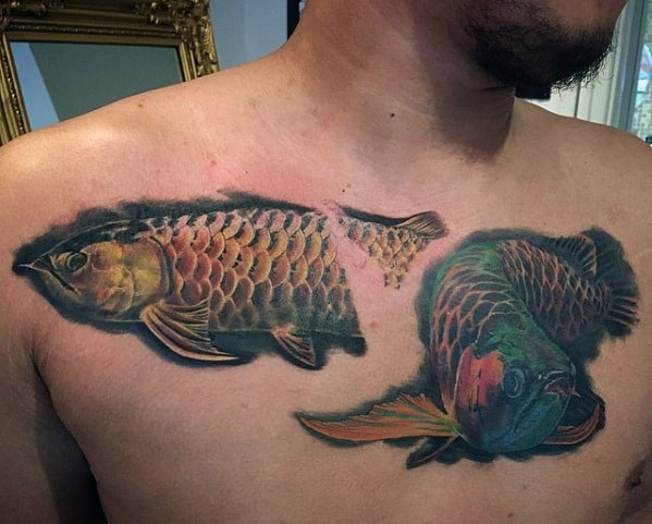 Masculine Realistic 3d Fish Arowana Tattoos For Men On Chest