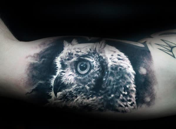 Masculine Realistic Black And Grey Owl Tattoo Ideas For Guys