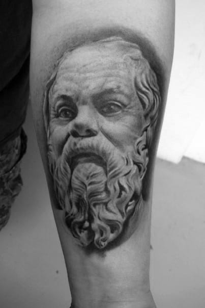 Masculine Realistic Inner Forearm Socrates Tattoos For Men