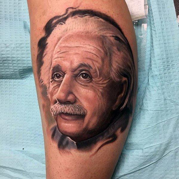 Masculine Realistic Leg Calf Albert Einstein Tattoos For Men