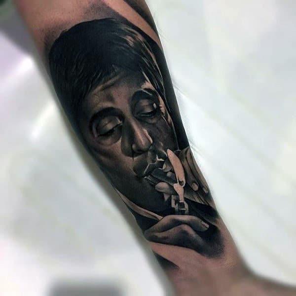 Masculine Realistic Male 3d Scarface Tattoo Design Ideas