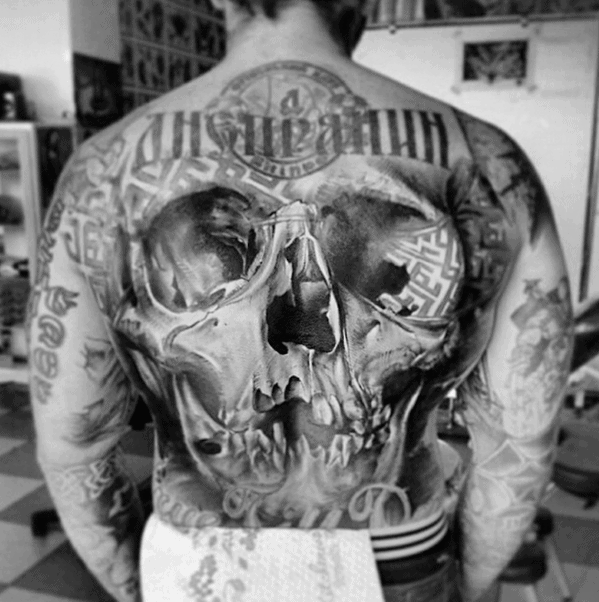 Masculine Realistic Skull Mens Back Tattoo
