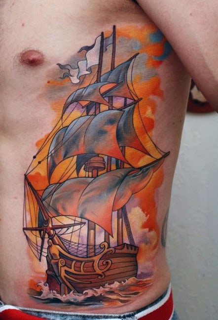 Masculine Rib Cage Side Pirate Ship Tattoo