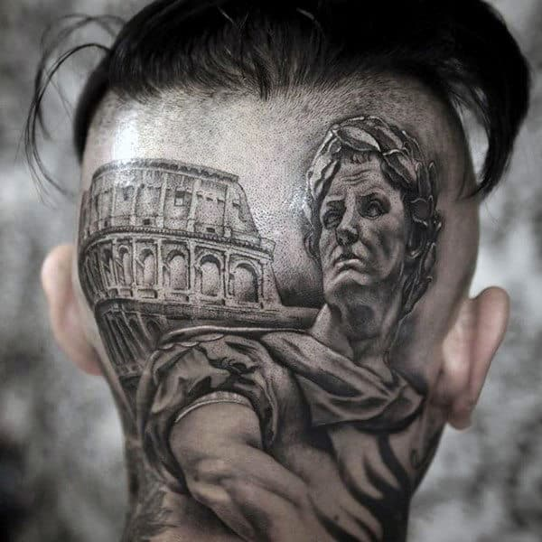 Masculine Roman Male Head Tattoos