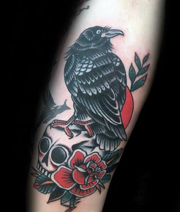 masculine-rose-flower-skull-and-black-traditional-crow-arm-tattoos-for-guys