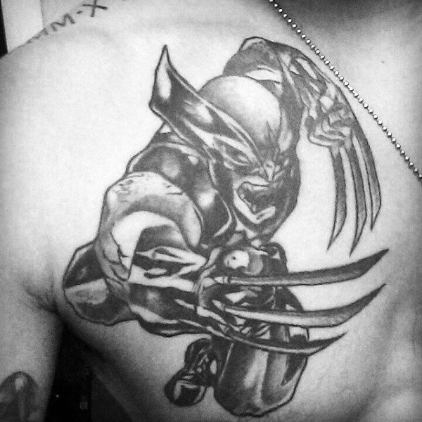 Masculine Running Wolverine Tattoo Design On Mans Upper Chest