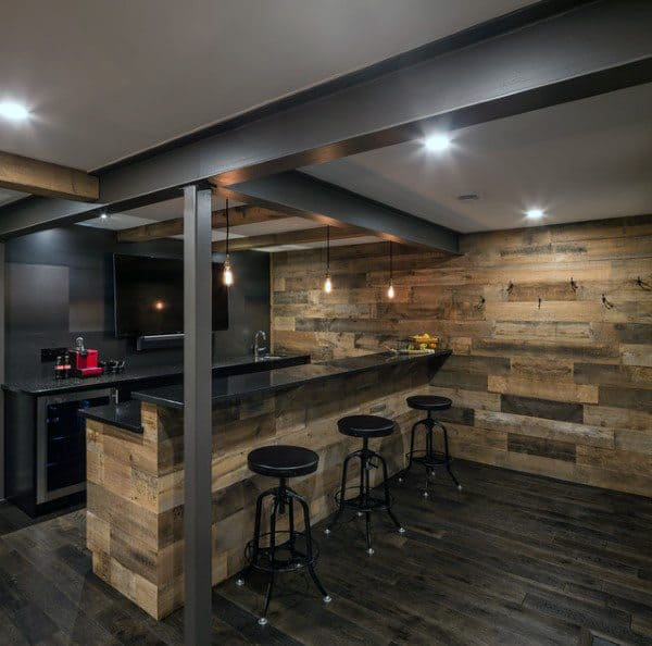 Masculine Rustic Home Basement Bar Ideas