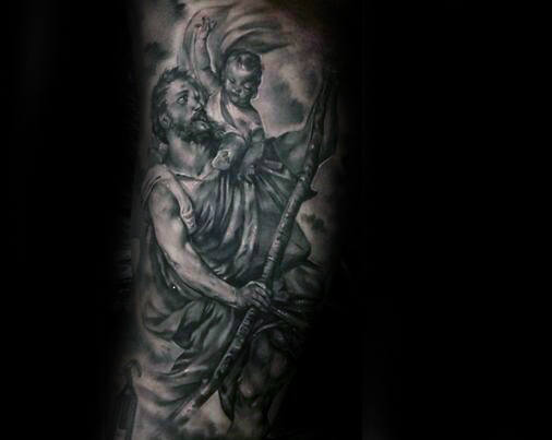 Masculine Saint Christopher Tattoo On Gentlemans Arm Sleeve Design Ideas