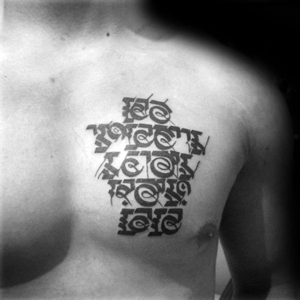 Masculine Sanskrit Tattoos For Men Upper Chest