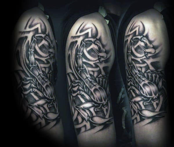 Masculine Scorpio Upper Arm Tattoo Inspiration