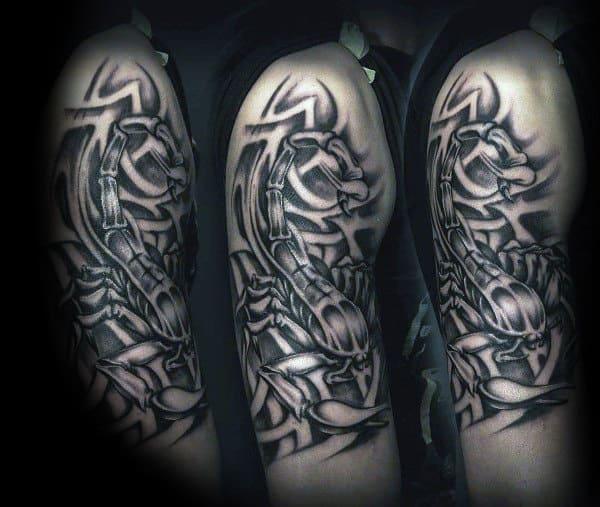 Masculine Scorpio Upper Arm Tattoo Inspiration