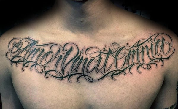 Script tattoos for men cursive ink design ideas