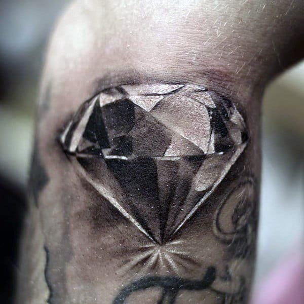 Masculine Shaded Diamond Arm Tattoo For Males