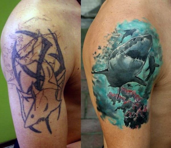 Masculine Sharks Tattoo Designs On Arm Cover Up