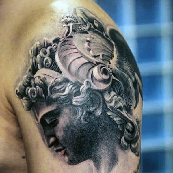 Masculine Shoulder 3d Perseus Tattoos For Men