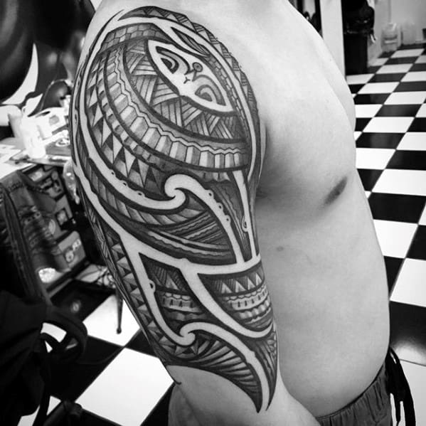 Masculine Sick Guys Half Sleeve Decorative Tribal Tattoo