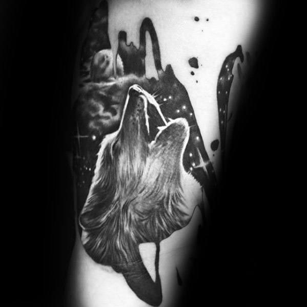Masculine Sick Howling Wolf Leg Tattoos For Men