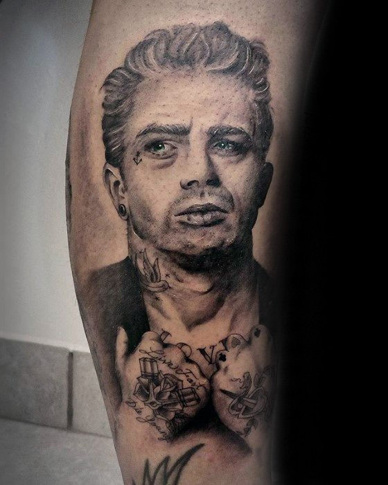 Masculine Side Of Leg Portrait Of James Dean Tattoos For Men