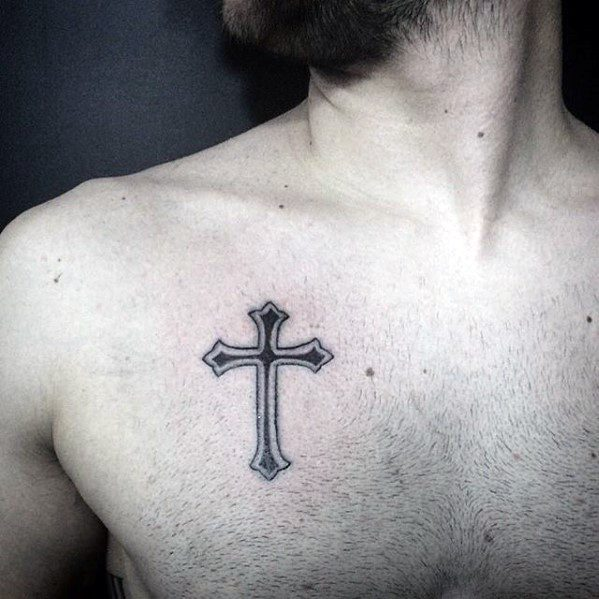Masculine Simple Cross Upper Chest Tattoo Ideas For Uys