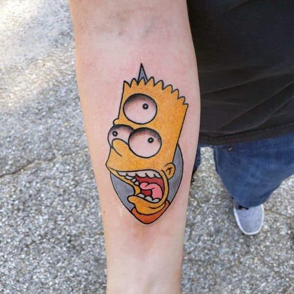 Masculine Simpsons Three Eye Bart Inner Forearm Tattoos For Men