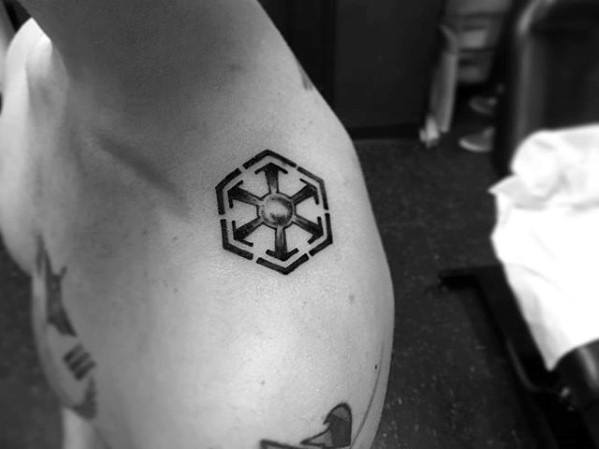 Masculine Sith Symbol Shoulder Tattoos For Men