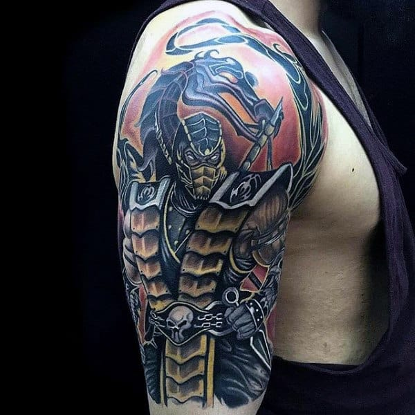 Masculine Skorpion From Moral Kombat Male Video Game Upper Arm Tattoos