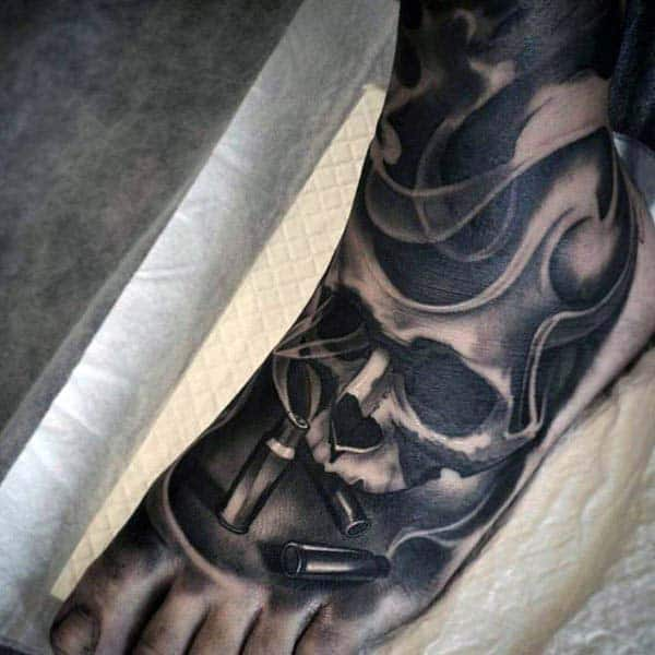 Masculine Skull And Bullet Smoking Foot Tattoo Sleeve