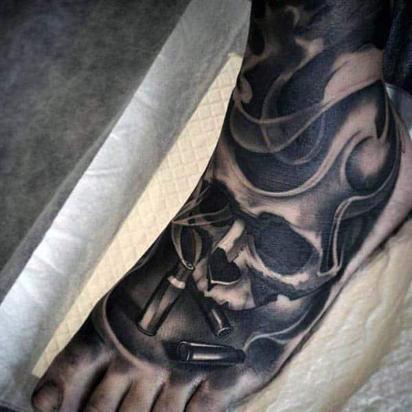 Masculine Skull And Bullet Smoking Foot Tattoo Sleeve