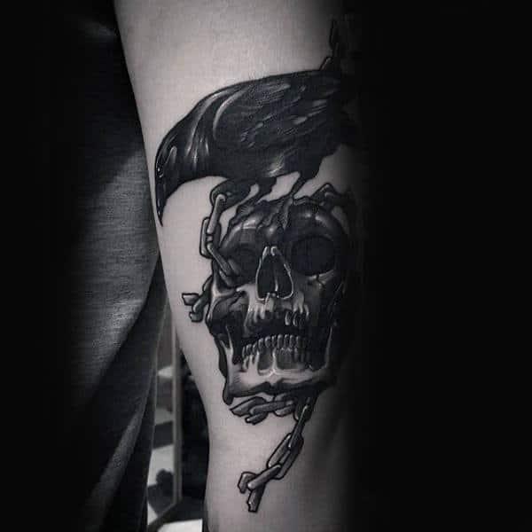 Masculine Skull And Crow Guys Inner Forearm Tattoo Ideas