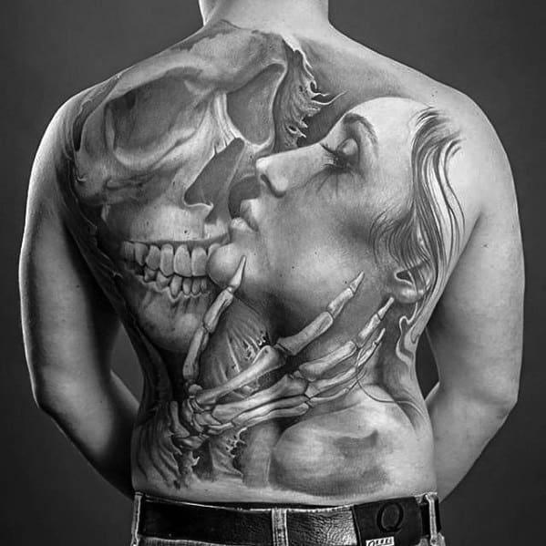 Masculine Skull Back Tattoos For Men