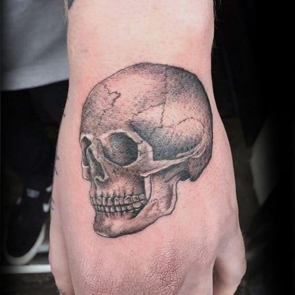 Masculine Skull Small Mens Hand Tattoo Ideas