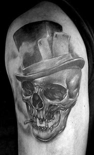 Masculine Skull With Top Hat Tattoos For Men On Arm