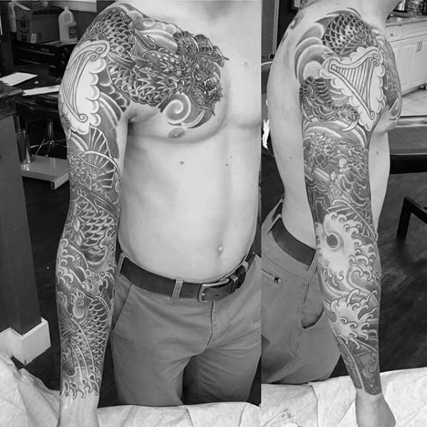 Masculine Sleeve Tattoo With Koi Dragon Theme For Men